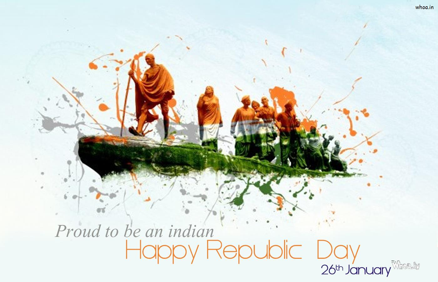 Proud To Be An Indian And Happy Republic Day Wallpaper With Freedom Fi 1400x900