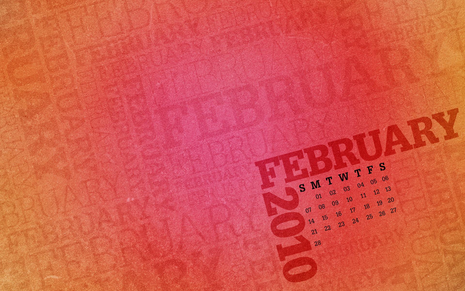 Desktop Wallpaper Calendar February 2010 1920x1200
