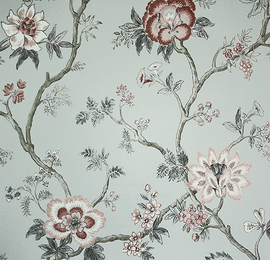 floral wallpaper based on 18th century Southern Indian chintz designs 534x514