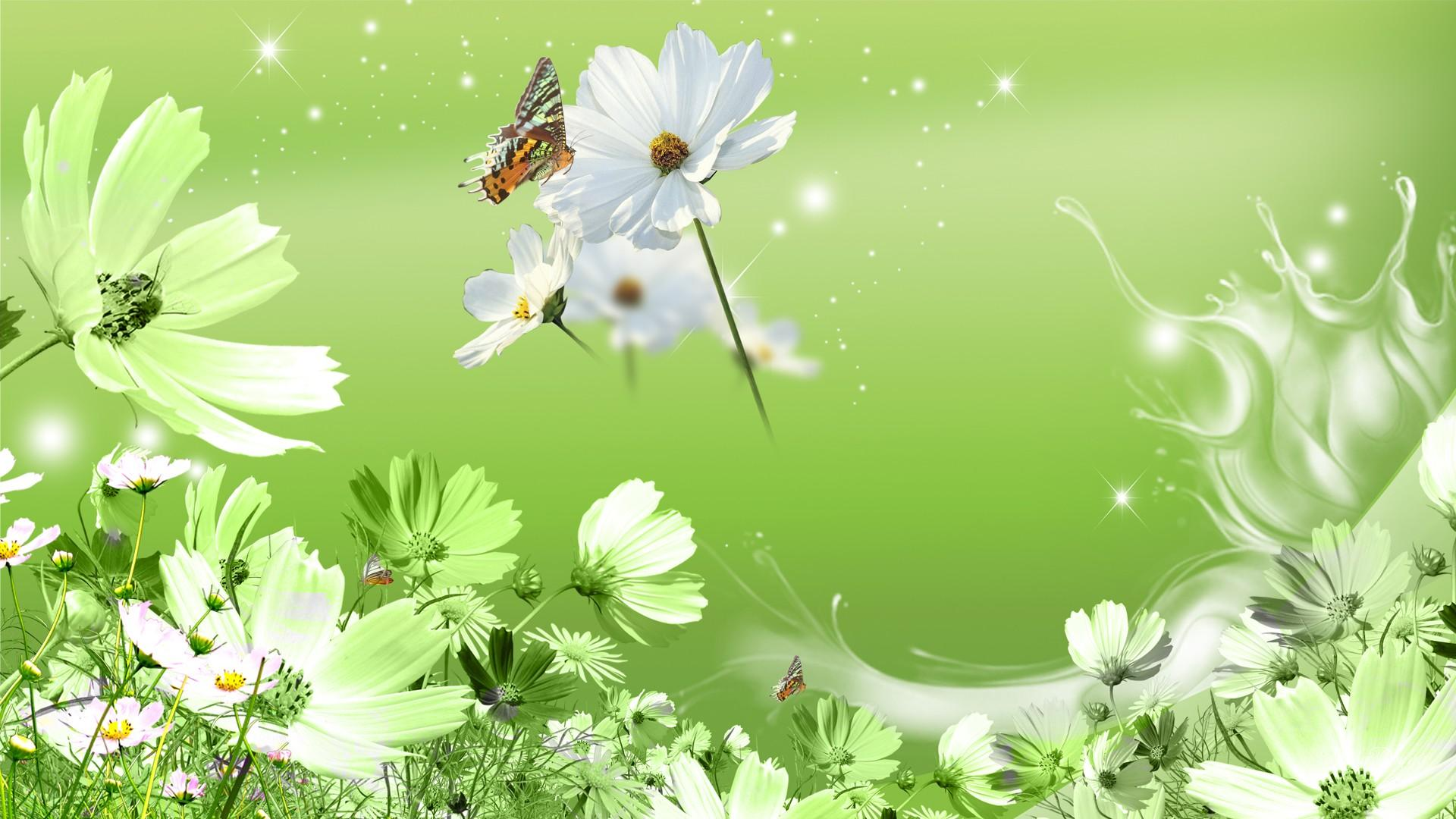 Green Flowers Wallpaper   All Wallpapers New 1920x1080