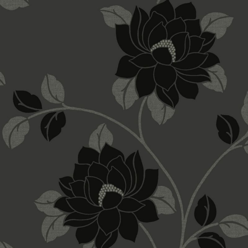 Lola Floral Black Flock Wallpaper Departments DIY at BQ 800x800