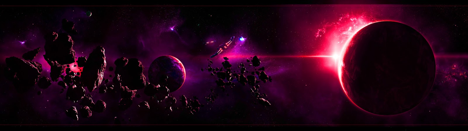 day dual screen monitor purple planet with asteroids space wallpaper 1600x450