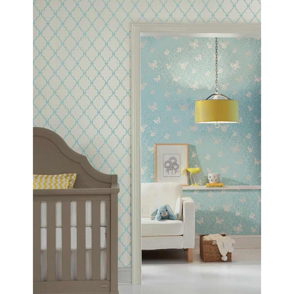 Removable Wall Decals   Graphic Trellis Wallpaper   White Turquoise 1000x1000