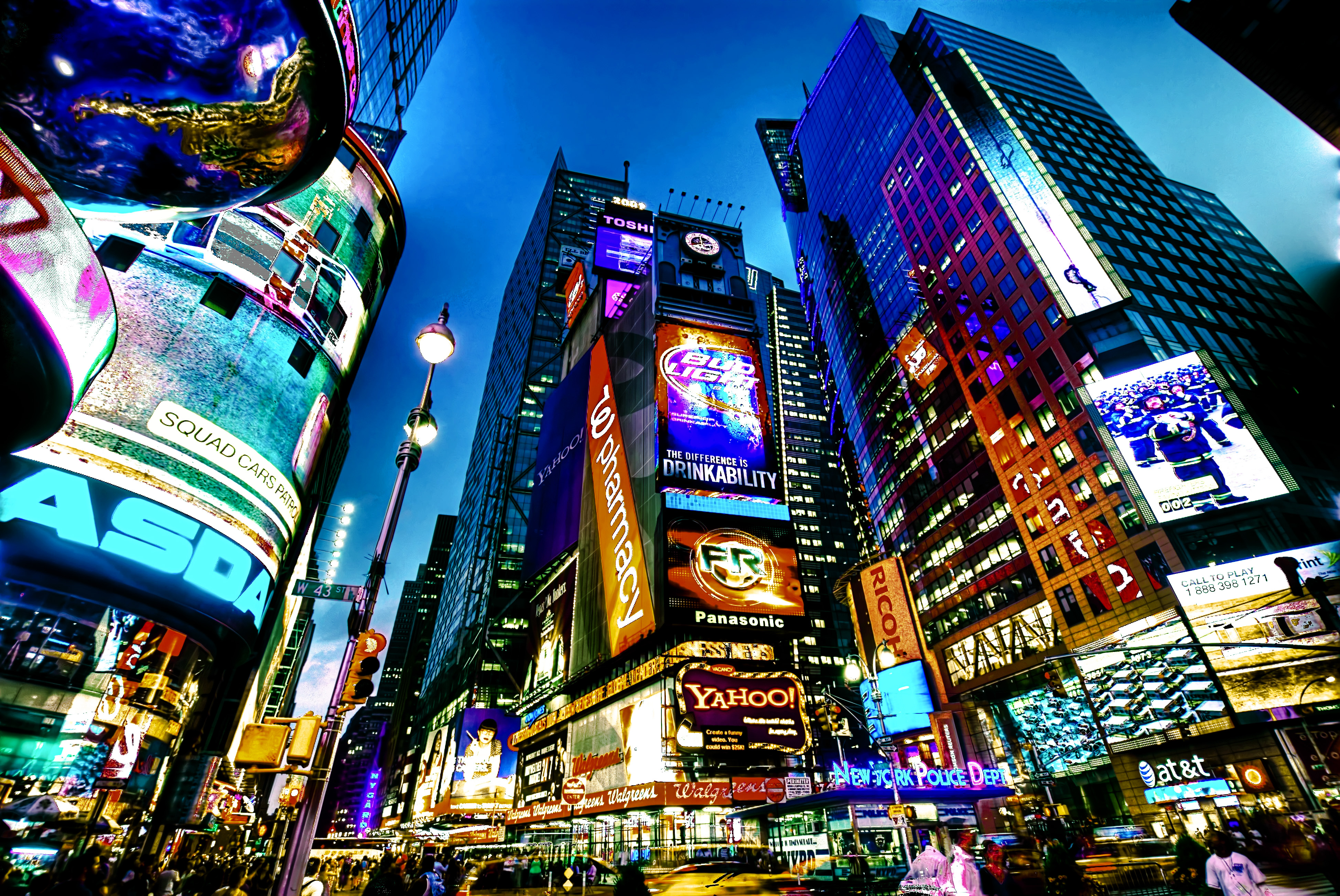 Square new york usa city cities neon lights g wallpaper background 3896x2606