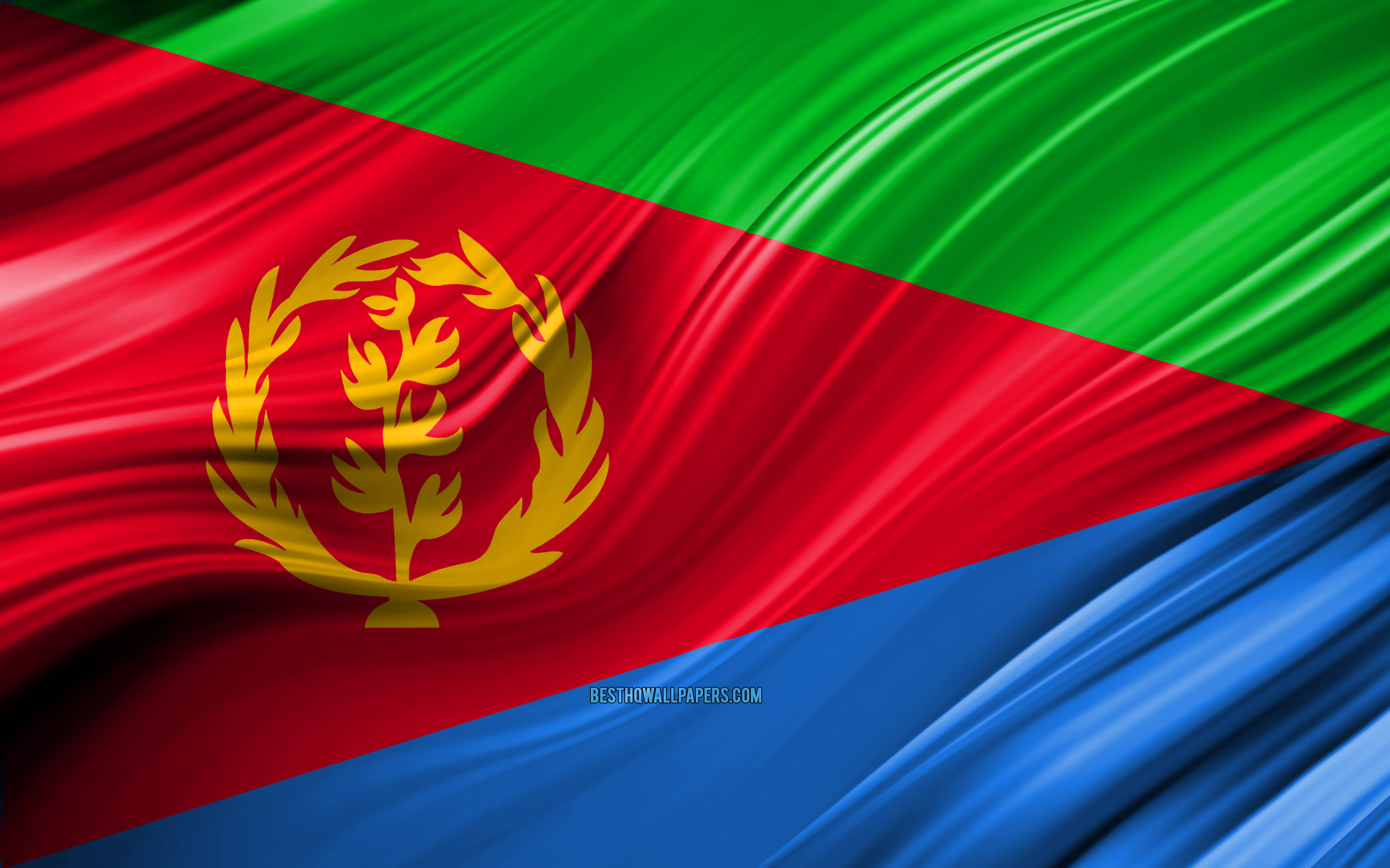 Download wallpapers 4k Eritrean flag African countries 3D waves 3840x2400