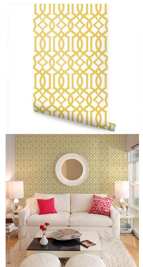 Modern Trellis Yellow Peel and Stick Wallpaper   Wall Sticker Outlet 461x861