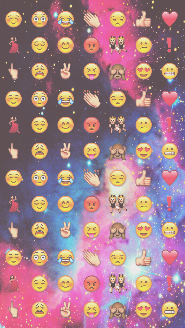 Wallpaper iPhone iPod Galaxy Emojis by HeySweetBieber 640x1136