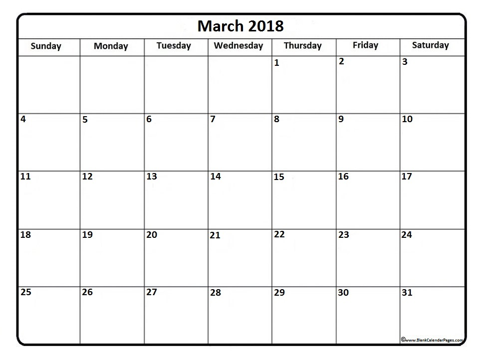 March 2018 Calendar Cute calendar template excel 966x724