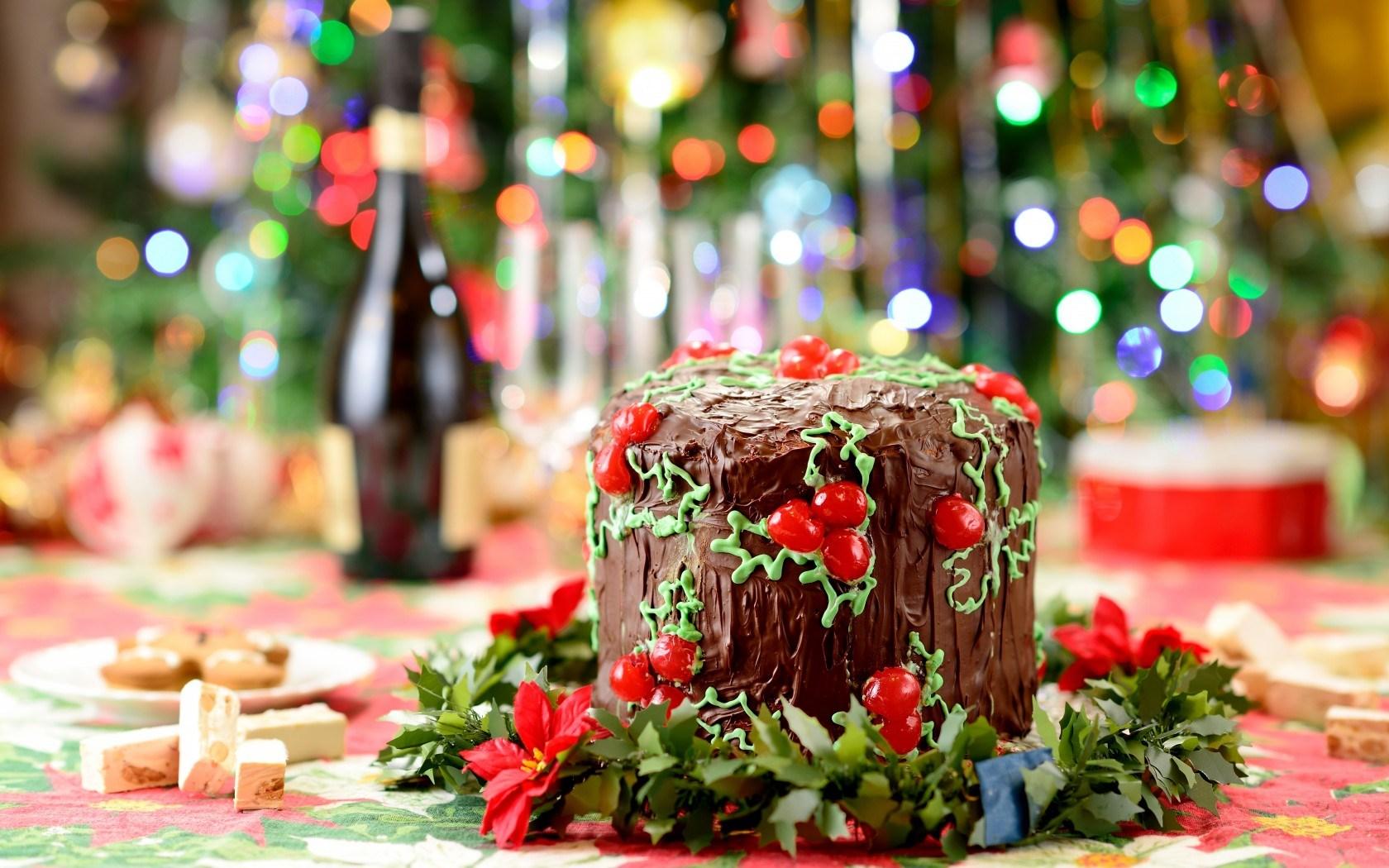 Cake Chocolate Food Holiday Winter Christmas New Year 1680x1050