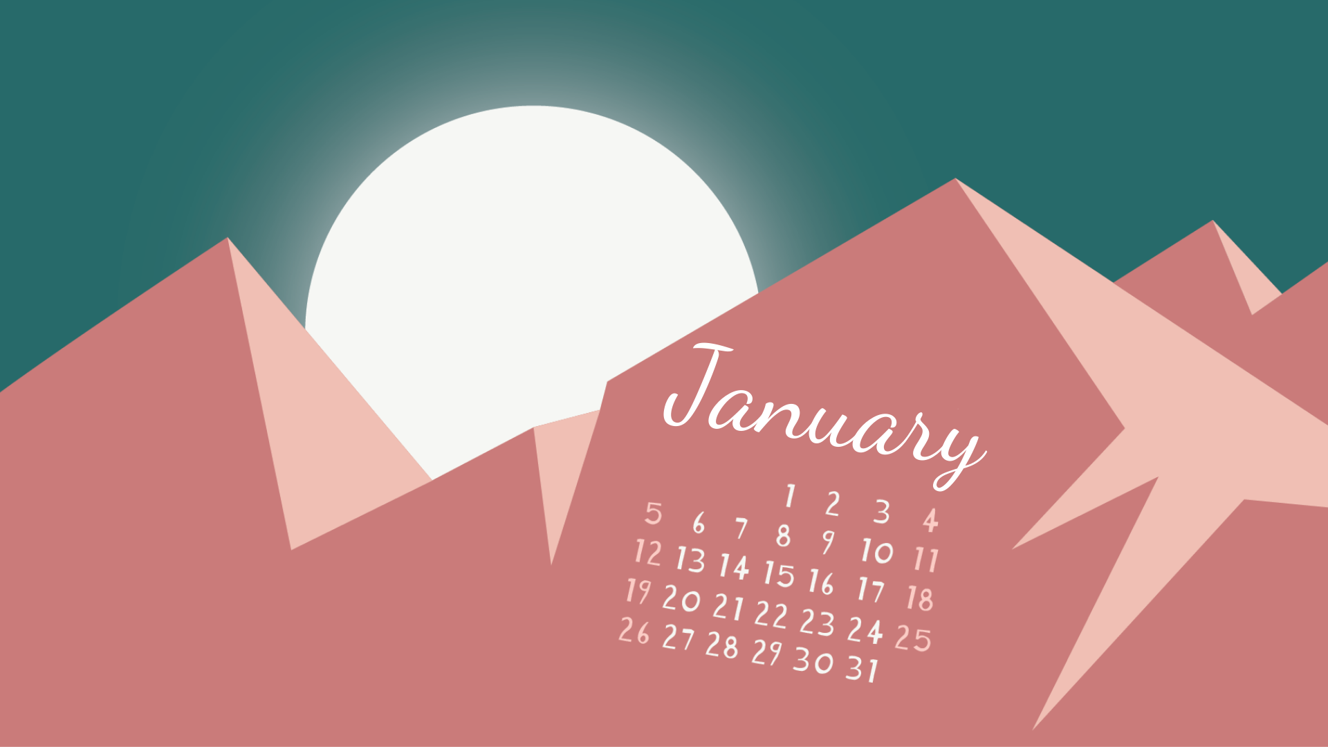 January 2020 Desktop Calendar Wallpapers Calendar 2020 1920x1080