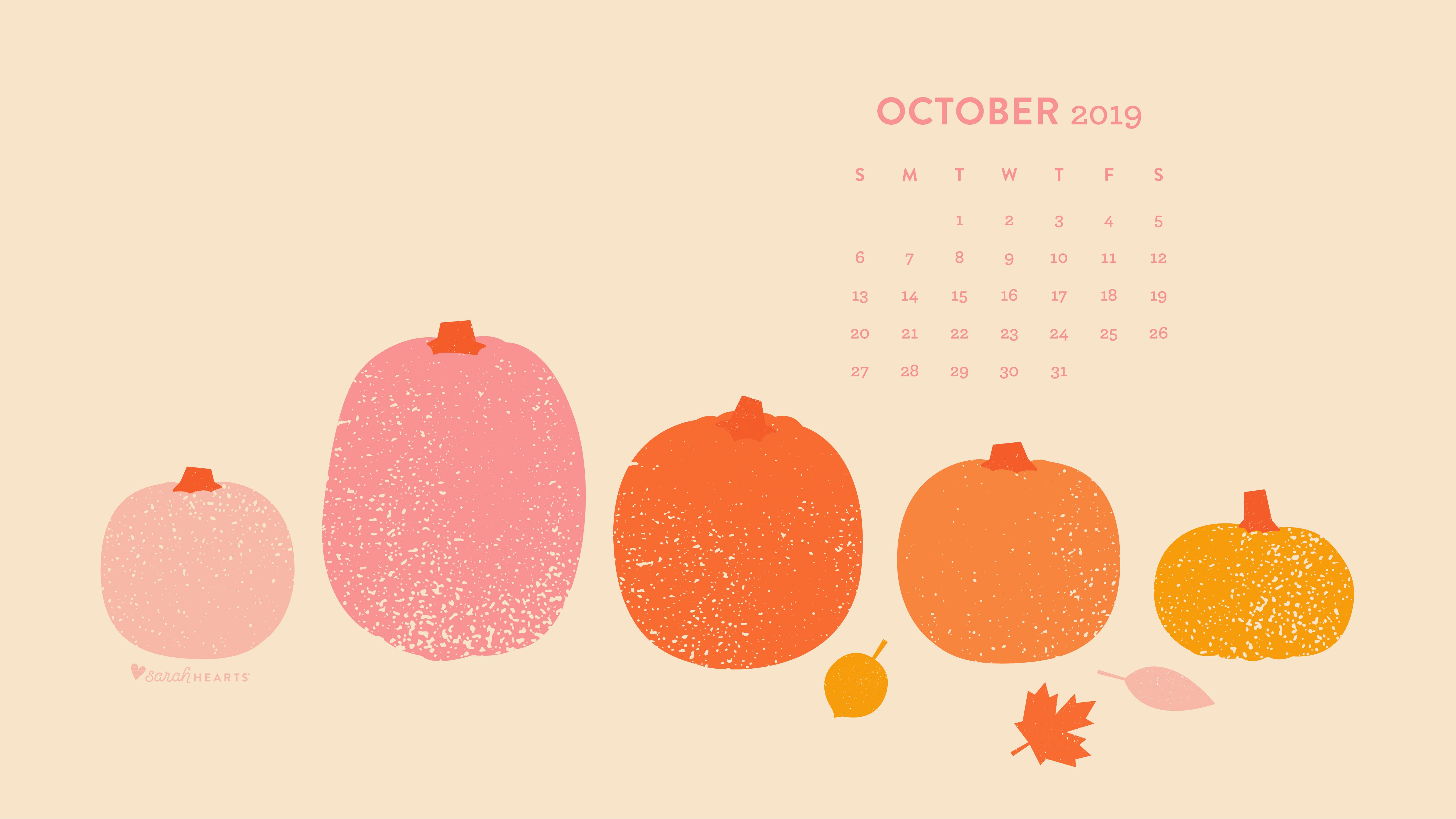 October 2019 Pumpkin Calendar Wallpaper   Sarah Hearts 5334x3001