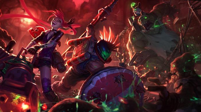 of Legends Slayer Jinx Zombie Nunu Slayer Pantheon skin wallpaper 700x393