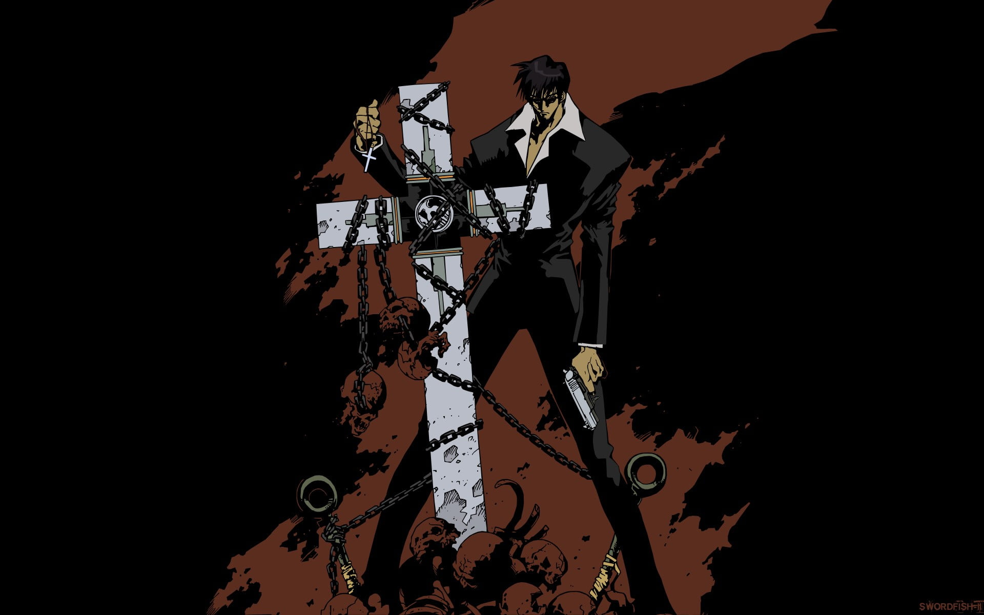 Male anime character leaning on cross wallpaper Trigun Nicholas 1920x1200