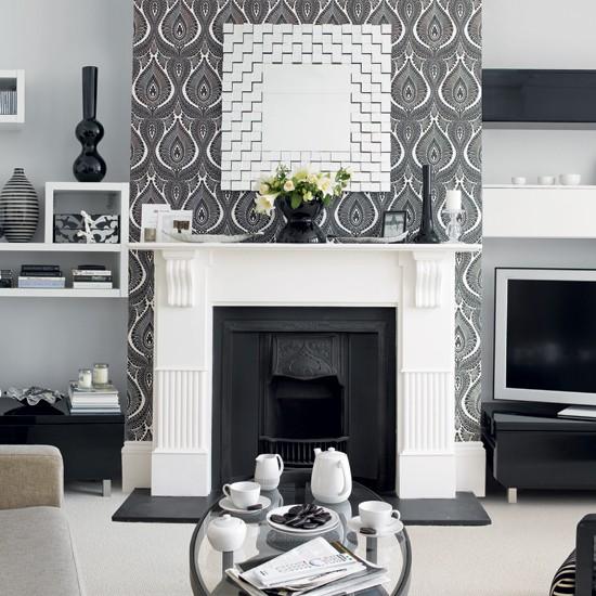 monochrome wallpaper Wallpaper ideas for living rooms Living room 550x550