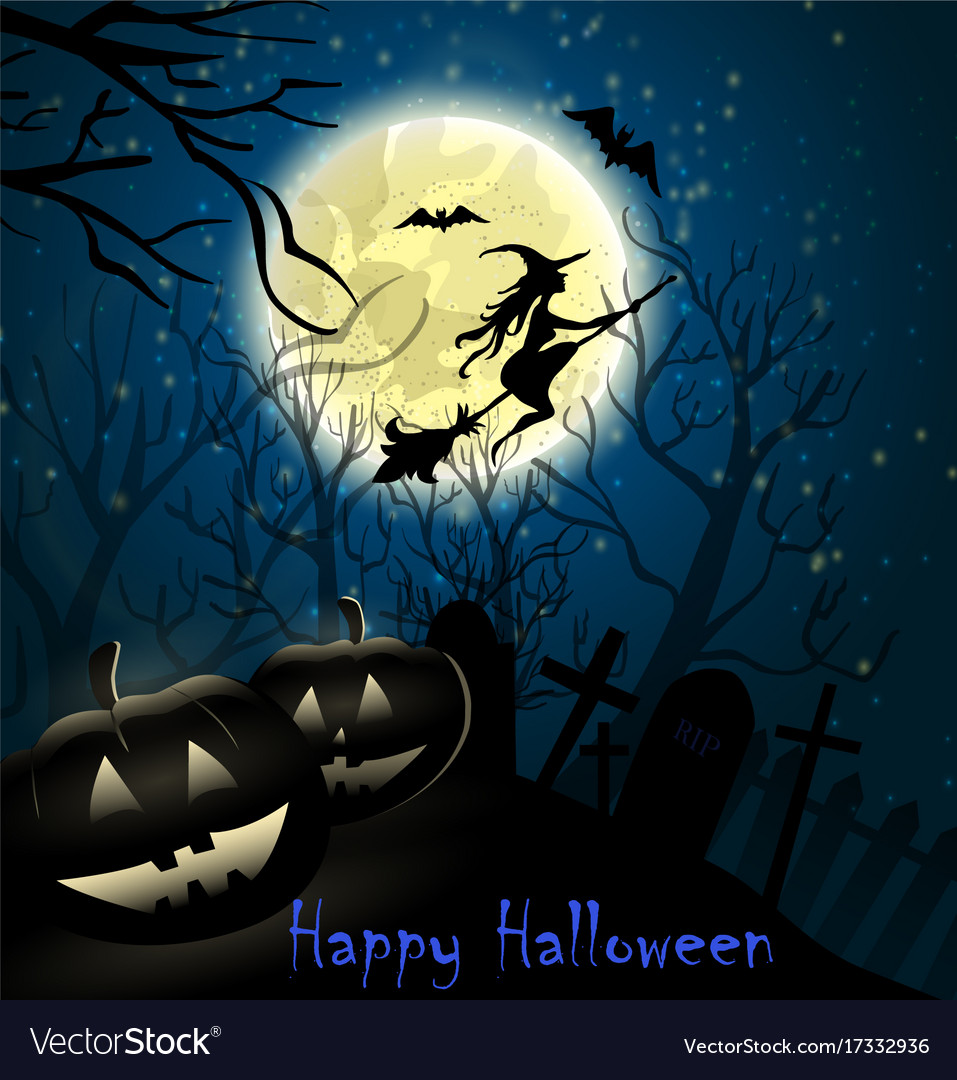 Halloween background witch on full moon Royalty Vector 957x1080
