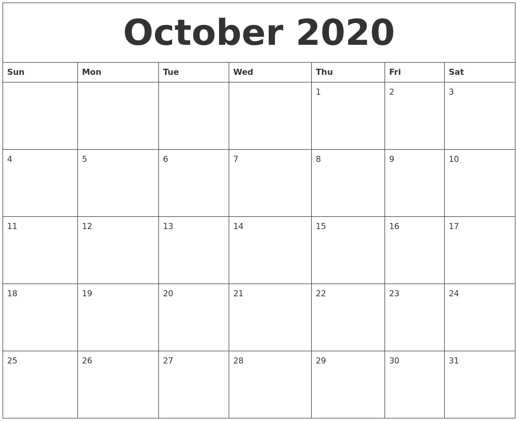 October 2020 Calendar PDF Word Excel Printable Template 1017x827