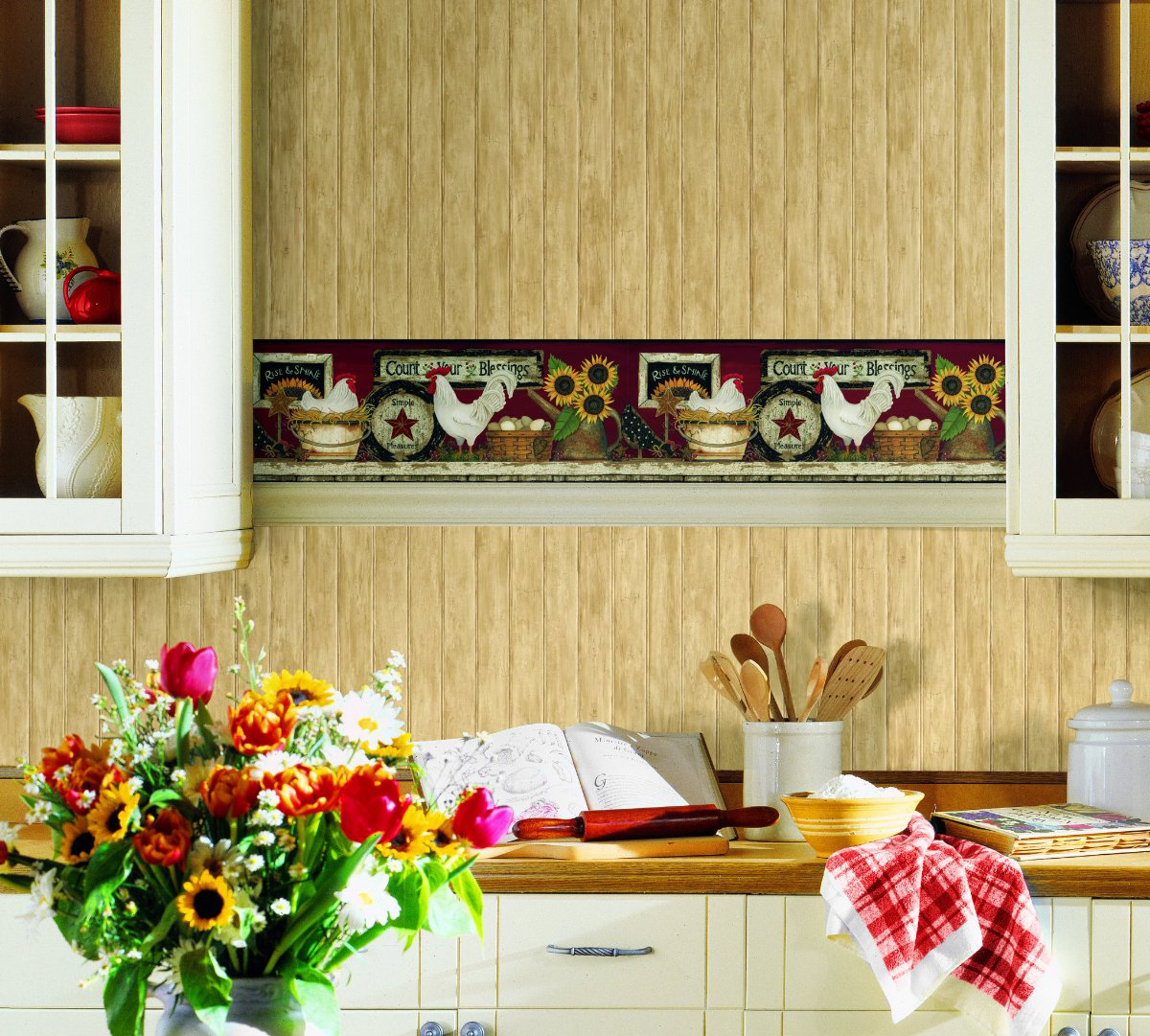 rooster shelf wallpaper border features roosters chickens and 1200x1081