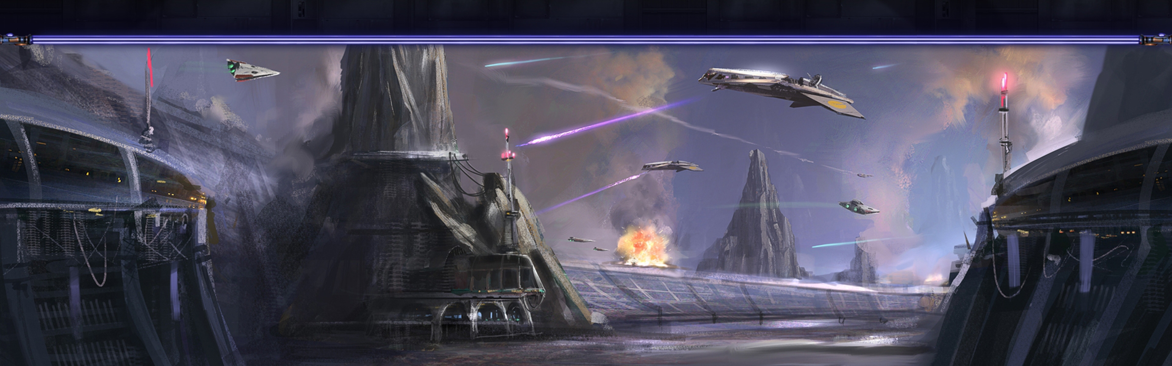 3840x1200 Wallpaper star wars the old republic airships shooting 3840x1200