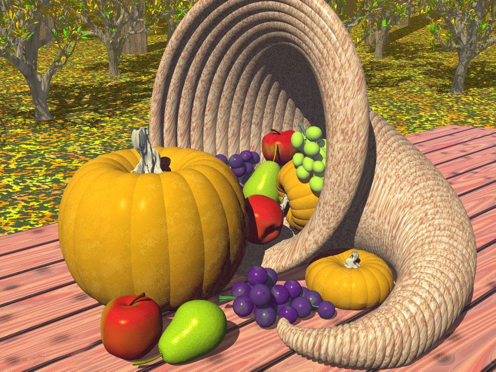 Download 3D Thanksgiving wallpaper Cornucopia 3D 1024x768