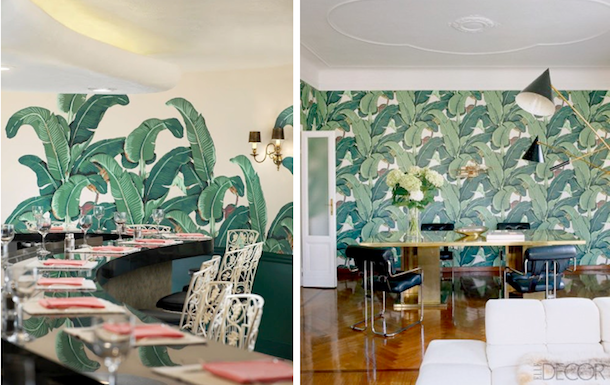Beverly Hills Hotel via here Right Martinique banana leaf wallpaper 610x385