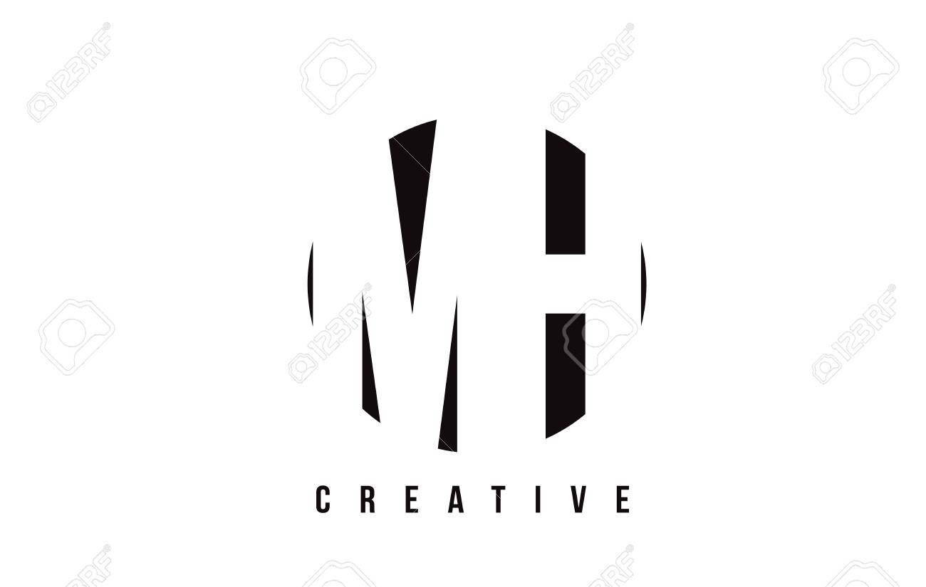 MH M H White Letter Logo Design With Circle Background Vector 1300x825