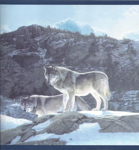 Timber Wolves Wolf Pack Lodge Wallpaper Border   CW102771 462x500