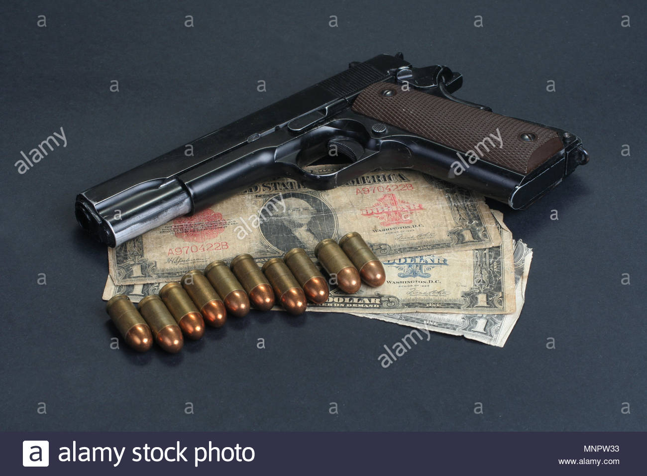 colt goverment M1911 on black background Stock Photo 185514087 1300x956