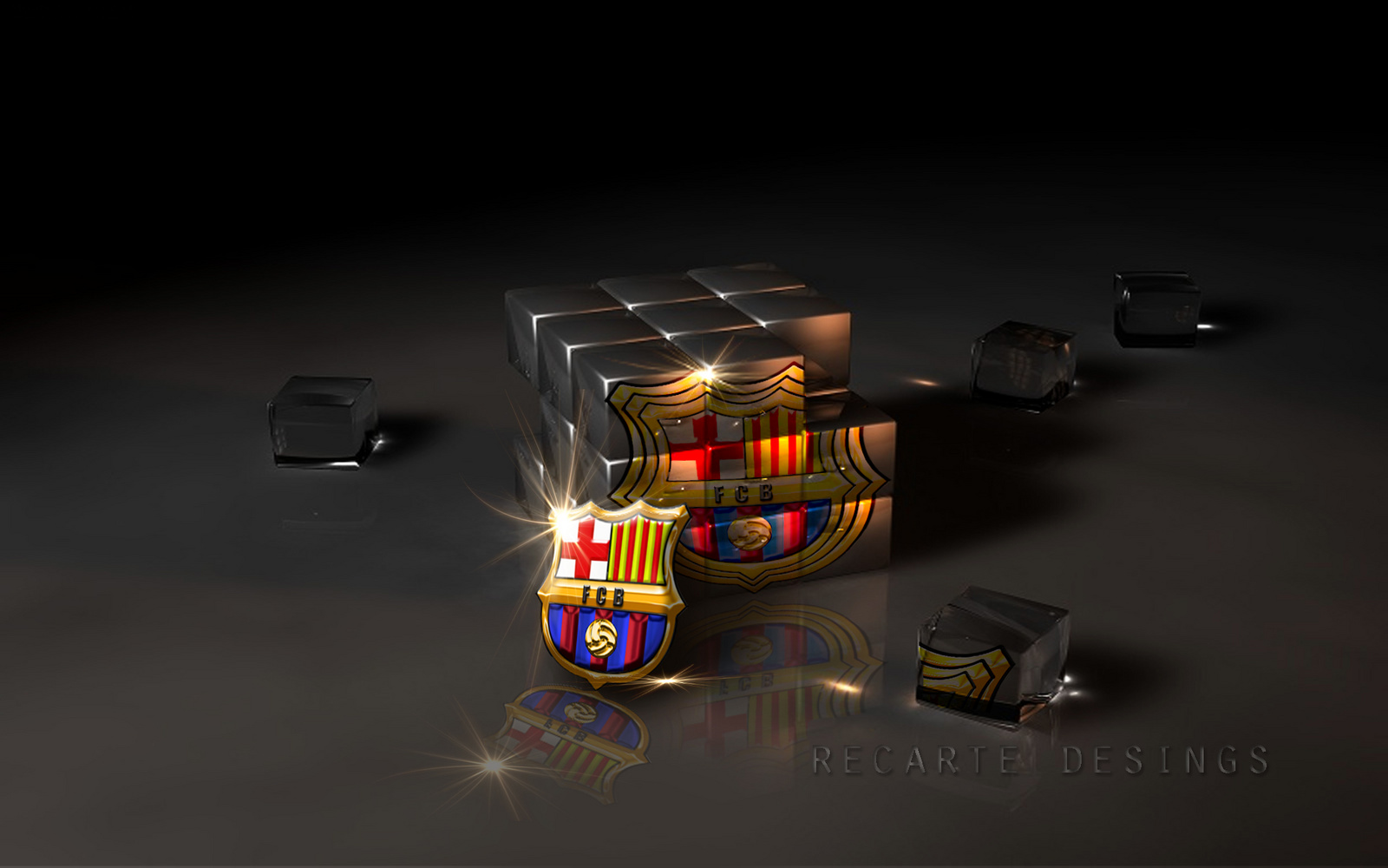 Barcelona FC Logo in Cubic Glass HD Wallpaper 2637 1600x1000