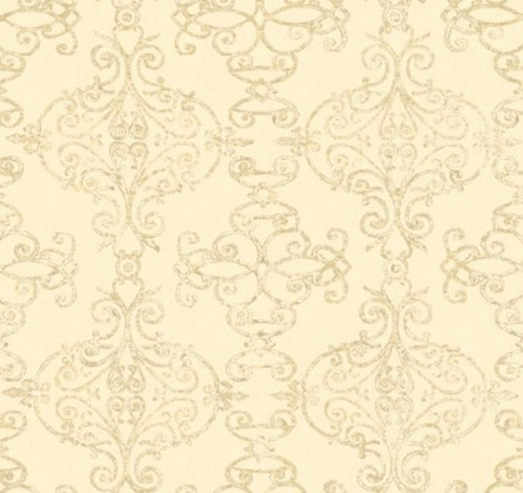 Wallpaper Designer Gray and Tan Trellis Scroll Lattice on Cream Faux 754x711