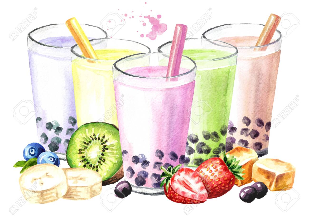 Refreshing Fruit Milky Bubble Boba Tea With Tapioca Pearls 1300x919