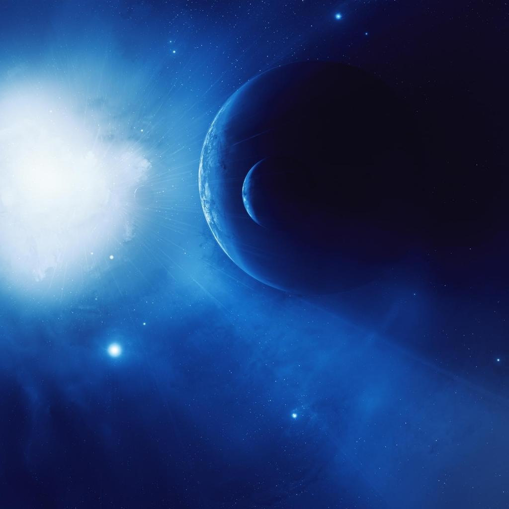 Planets in blue space ipad wallpaper 1024x1024