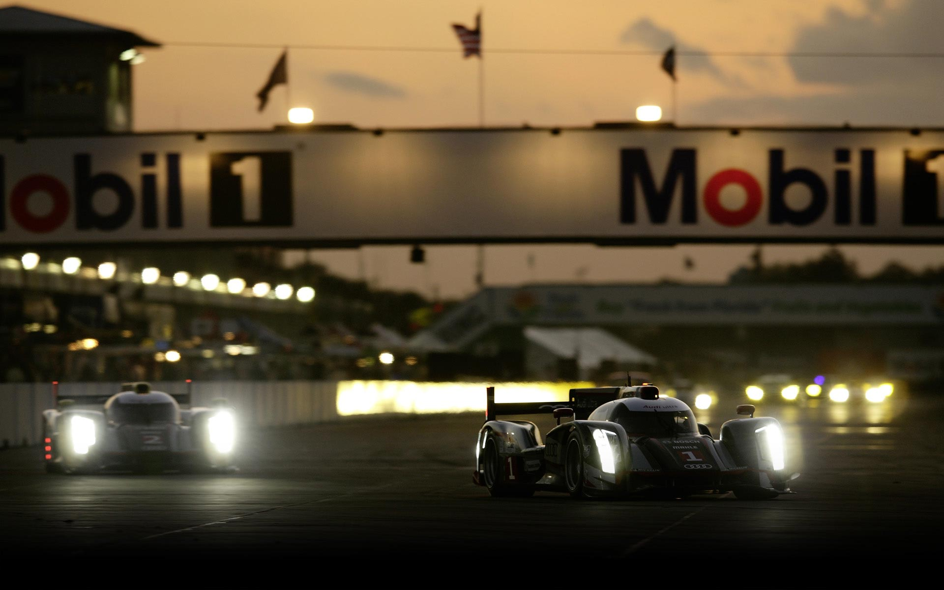 Audi Motorsport Race Cars At Le Mans Race During Night 1920x1200 1920x1200