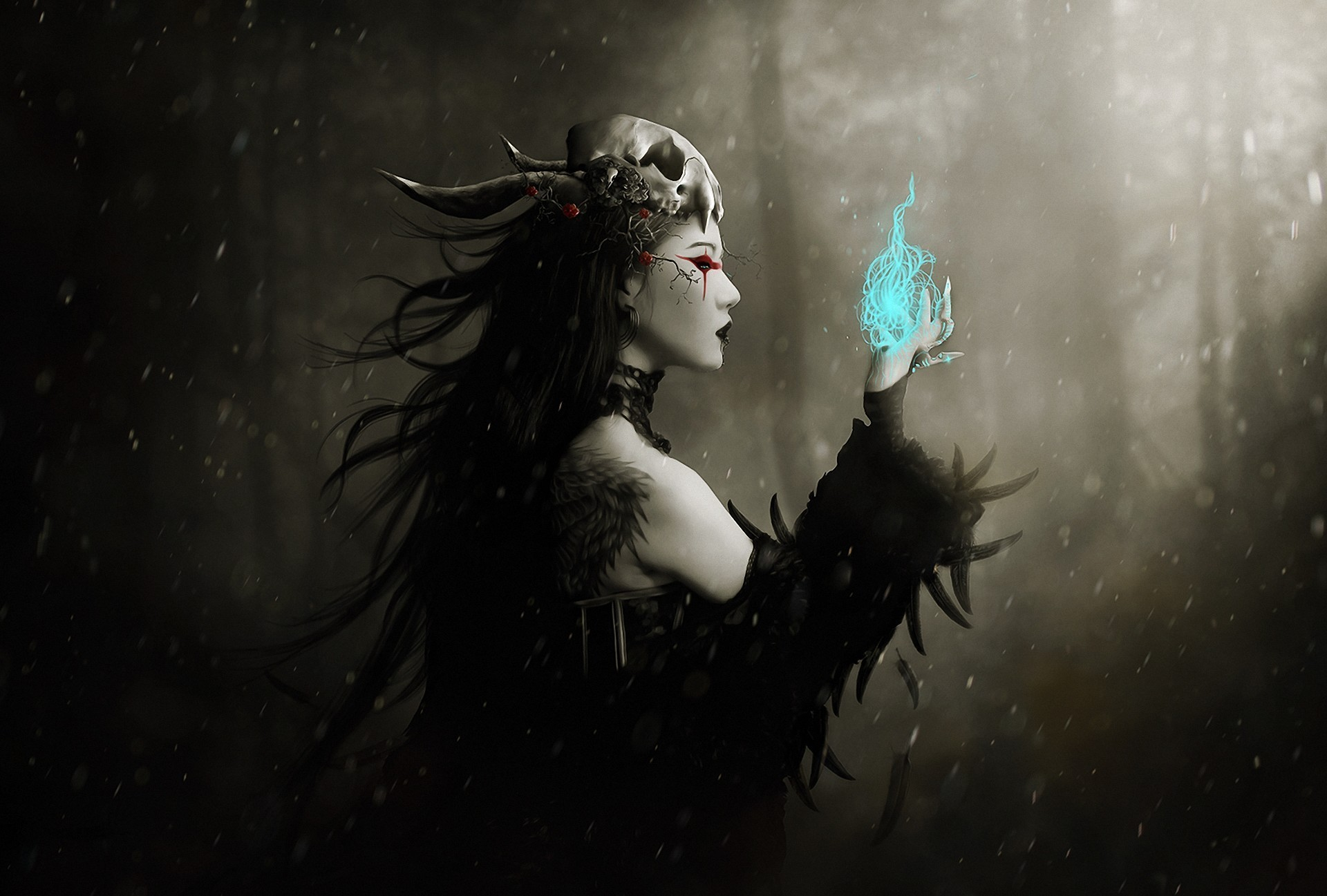 gothic dark fantasy art witch magic spell occult skull women females 1920x1297