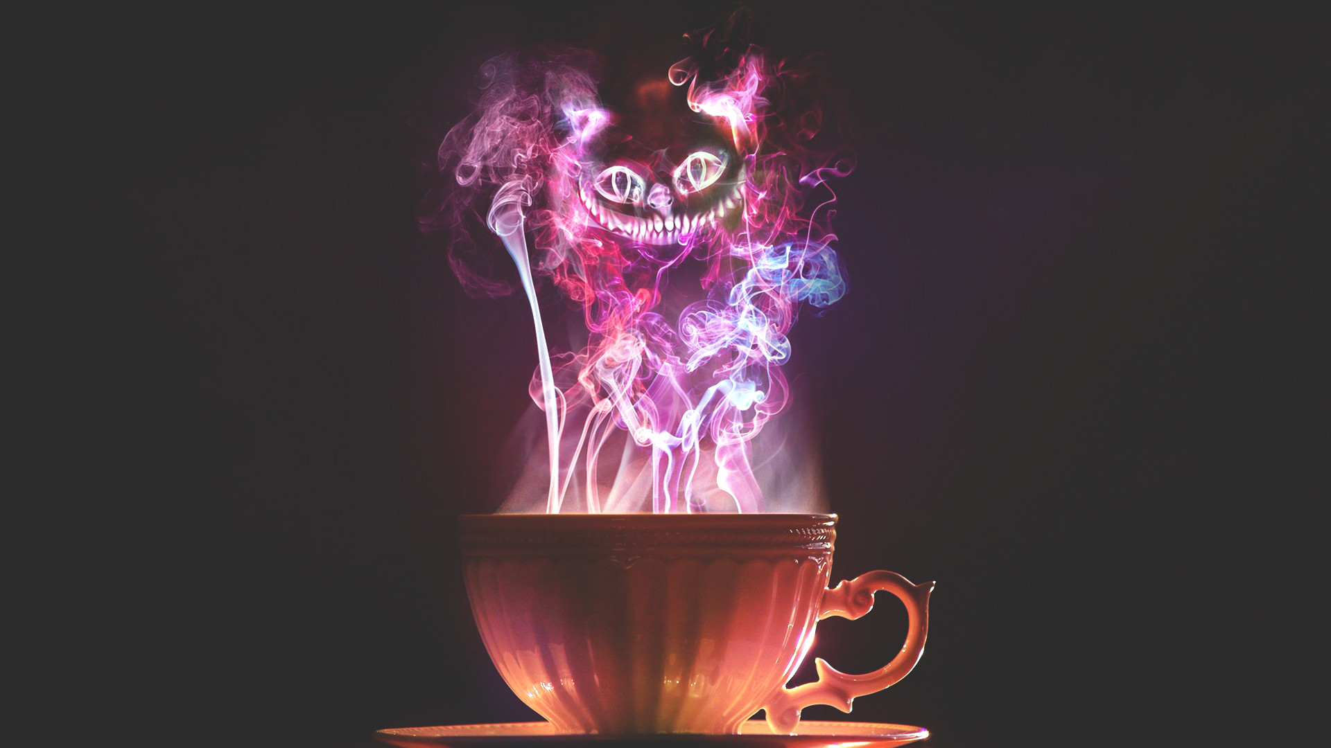 cup cheshire cat cup smoke cheshire cat Wallpaper 1920x1080   Hot 1920x1080