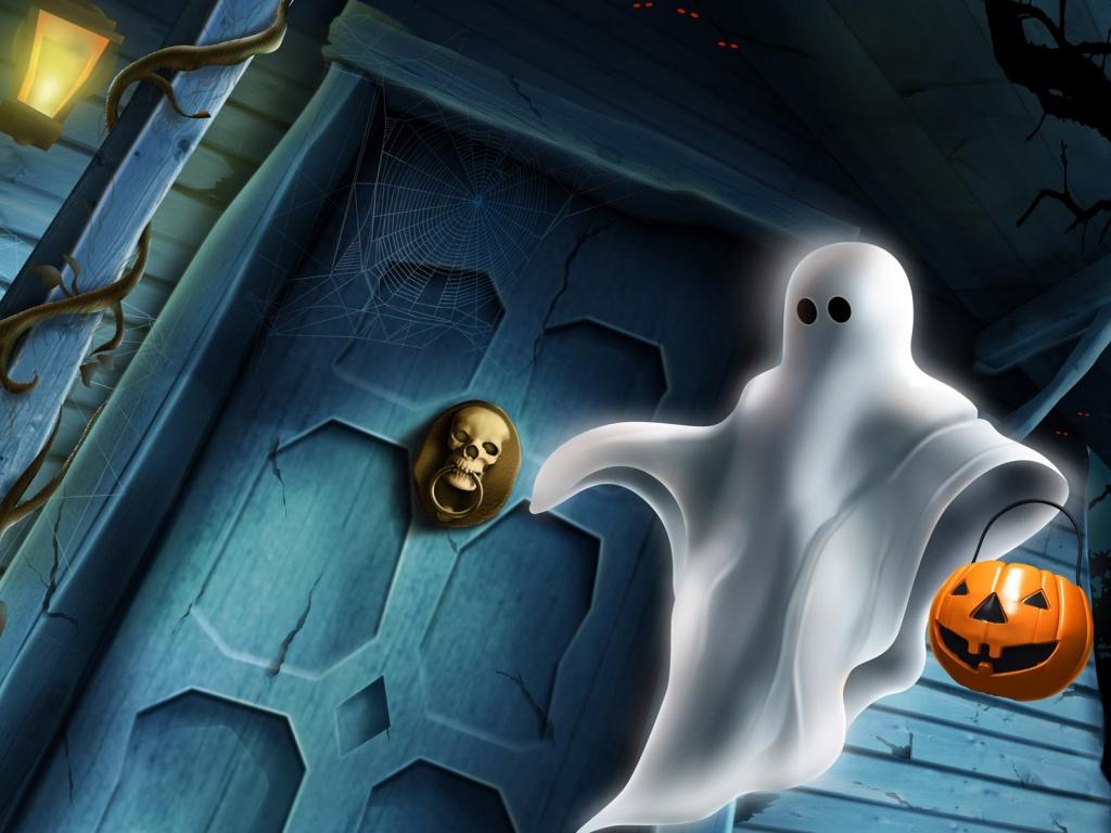1024x768 Halloween ghost desktop PC and Mac wallpaper 1024x768