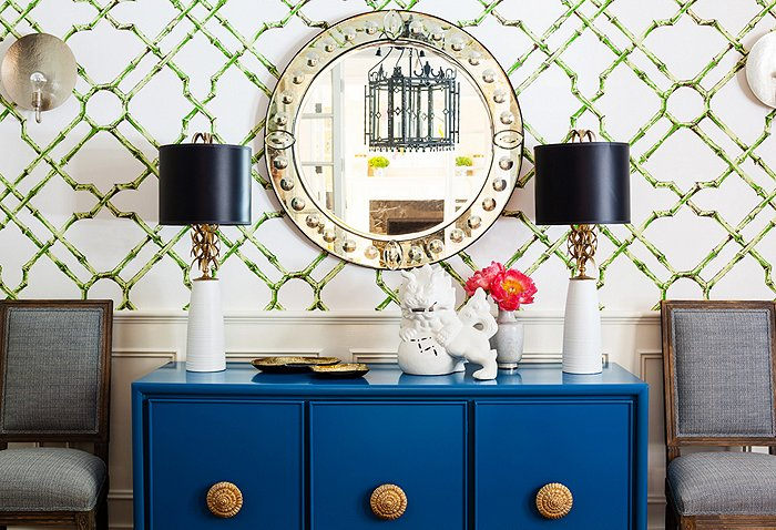 Bamboo Trellis Wallpaper   Contemporary   dining room   One Kings Lane 700x478