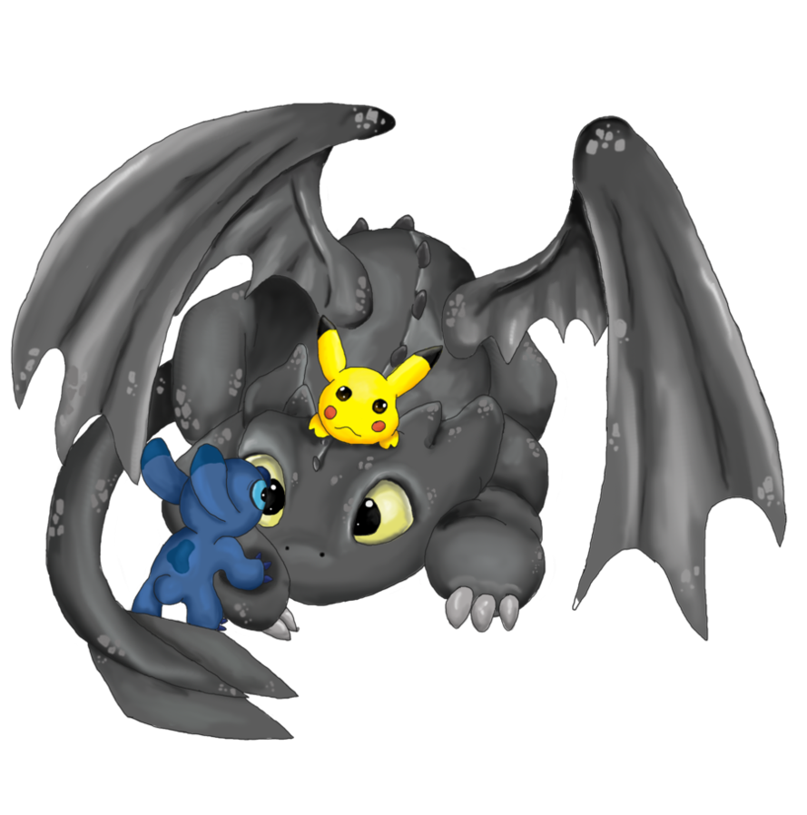 toothless pikachu and stitch by mdbruin 889x898