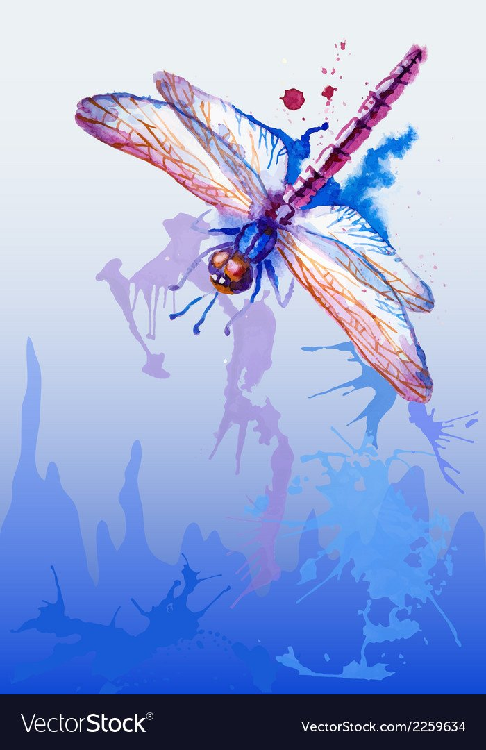 Background With Purple Watercolor Dragonfly Vector Image 700x1080