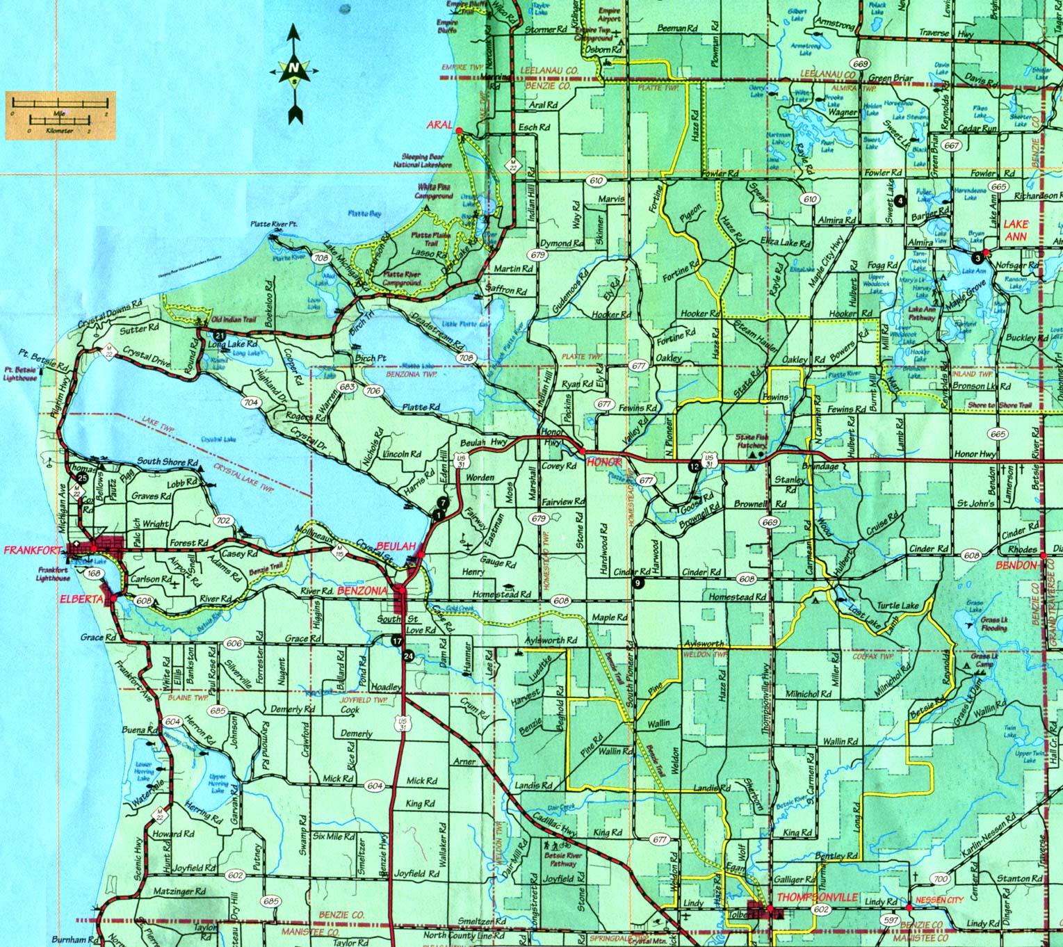 benzie county michigan map Wallpaper Downloads 1529x1362