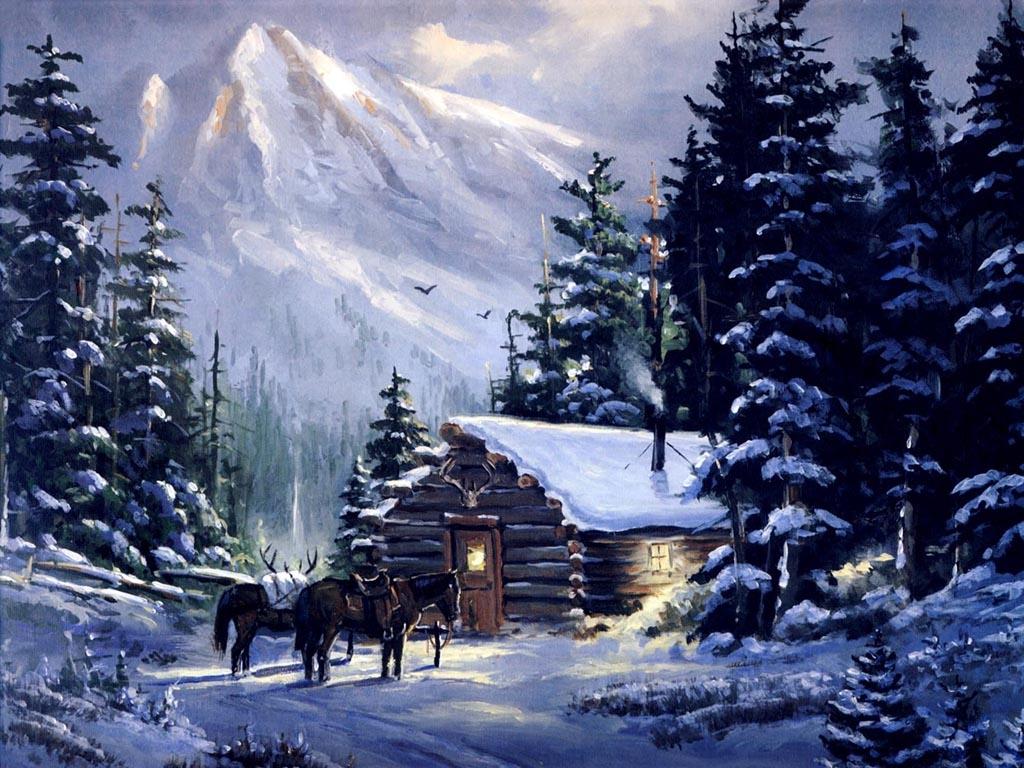 Wallpapers Download 1024x768 art mountain Mountain cabin Wallpaper 1024x768