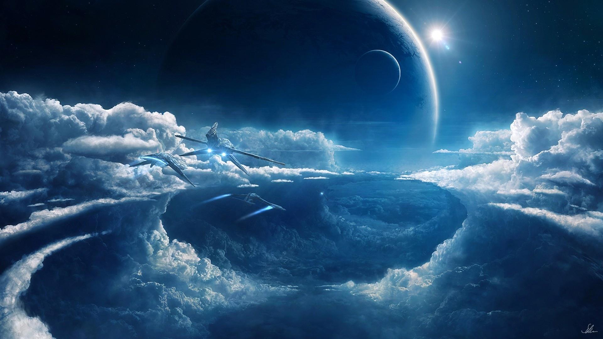 sci fi science futuristic spaceship spacecraft sky clouds flight 1920x1080
