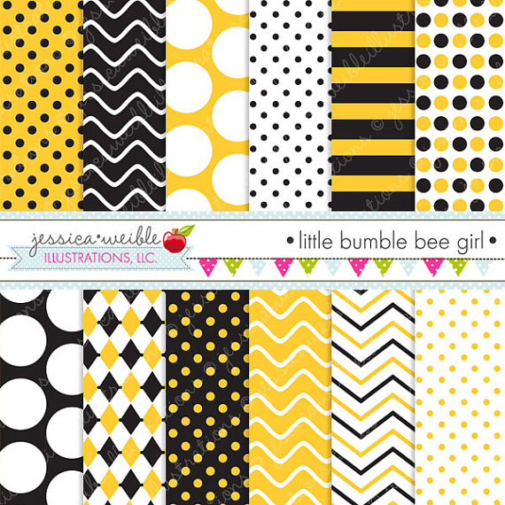 Bumble Bee Patterns Bumble Bee Backgrounds by JW Illustrations Catch 570x570