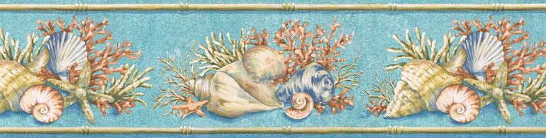 Beach Coral SEA Shell Blue Wallpaper Border PB58007B eBay 770x195