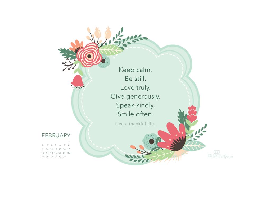 February 2014   Thankful Life Wallpaper 1024x768