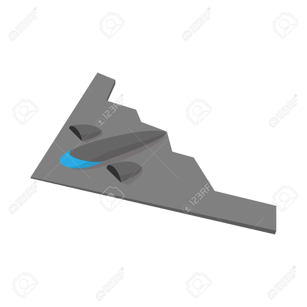 Stealth Bomber Icon In Cartoon Style On A White Background Royalty 1300x1300