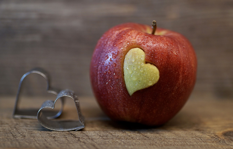 Wallpaper drops love background red heart Apple food fruit 1332x850
