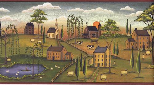 Scenic Primitive Countryside Landscape Wallpaper Border JN1700B eBay 500x276