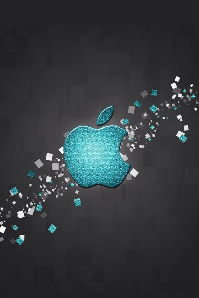Glitter Blue Apple Logo Wallpaper   iPhone Wallpapers 640x960