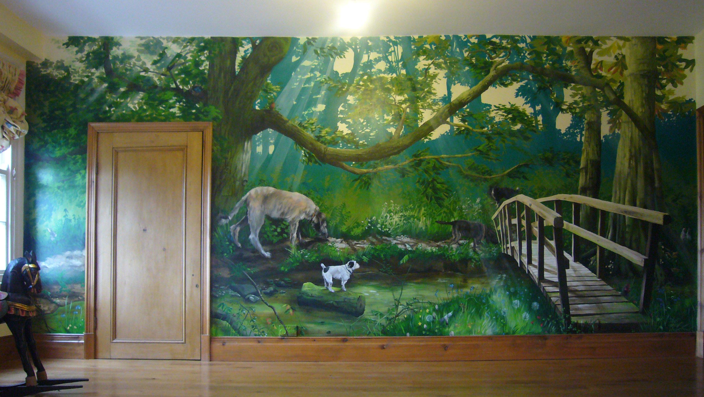 Hand Painted Wall Murals Ideas   Home Design 2837x1596