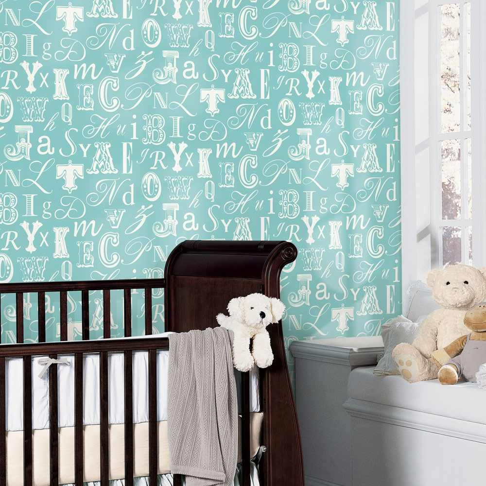 Removable Wall Decals   Word Play Wallpaper   Turquoise White I Wall 1000x1000